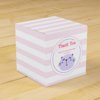 Cute Purple Cat Pink Striped Baby Shower Thank You Favour Box