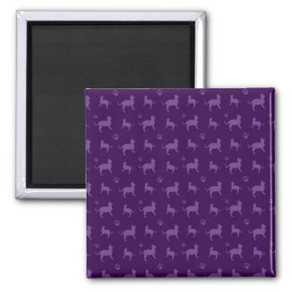 Cute purple cats and paws pattern square magnet