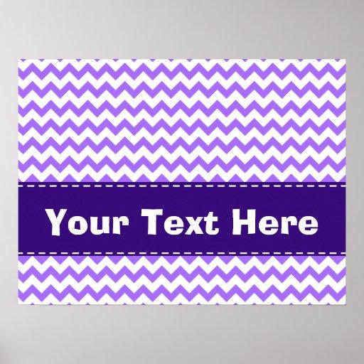 Cute Purple Chevron Pattern Poster