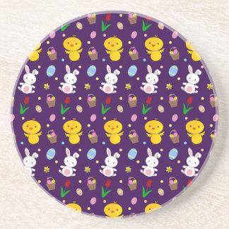 Cute purple chick bunny egg basket easter pattern beverage coasters
