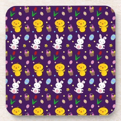 Cute purple chick bunny egg basket easter pattern drink coaster