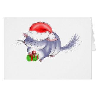 Cute Purple Chinchilla Christmas Card