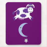 Cute Purple Cow Jumping Over The Moon Mousemats