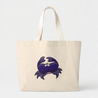 cute purple crab large tote bag