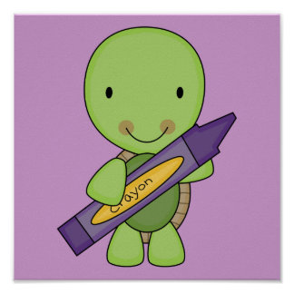 cute purple crayon turtle poster