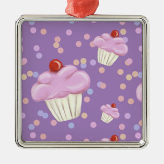 Cute Purple Cupcake Pattern Christmas Ornament