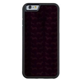 Cute purple dachshund pattern carved walnut iPhone 6 bumper case