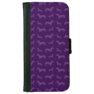 Cute purple dachshund pattern iPhone 6 wallet case