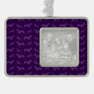 Cute purple dachshund pattern silver plated framed ornament