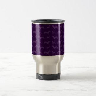 Cute purple dachshund pattern travel mug