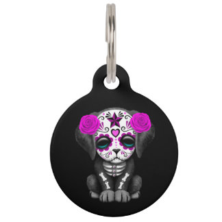 Cute Purple Day of the Dead Puppy Dog Black Pet Tag