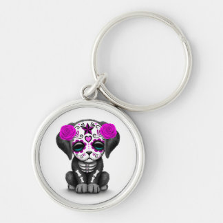 Cute Purple Day of the Dead Puppy Dog White Silver-Colored Round Key Ring