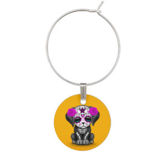 Cute Purple Day of the Dead Puppy Dog Yellow Wine Charm