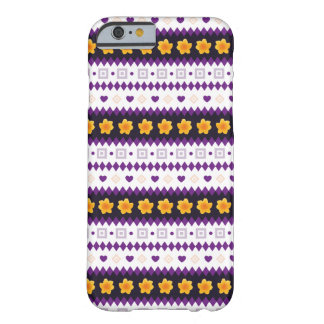 Cute purple Design with tiny Hearts and Flowers Barely There iPhone 6 Case