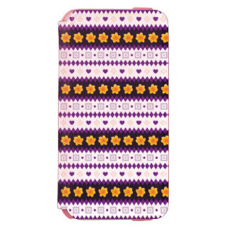 Cute purple Design with tiny Hearts and Flowers Incipio Watson™ iPhone 6 Wallet Case