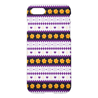 Cute purple Design with tiny Hearts and Flowers iPhone 7 Case
