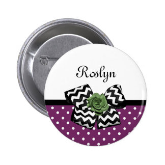 Cute Purple Dots Green Rose Chevron Bow With Name 6 Cm Round Badge
