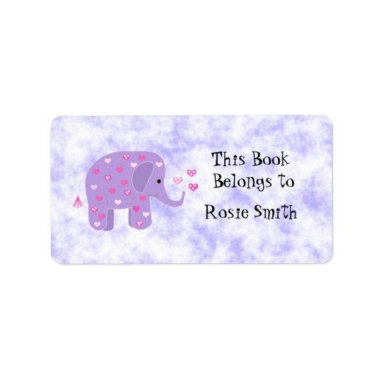 Cute Purple Elephant Bookplate Label