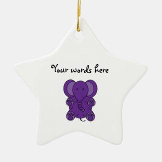 Cute purple elephant christmas ornament