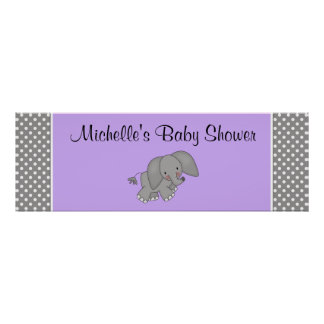 Cute Purple Elephant Girl Baby Shower Banner Poster