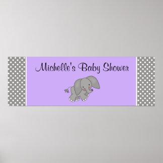 Cute Purple Elephant Girl Baby Shower Banner Poster