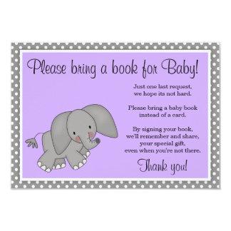 Cute Purple Elephant Girl Baby Shower Book Request 9 Cm X 13 Cm Invitation Card