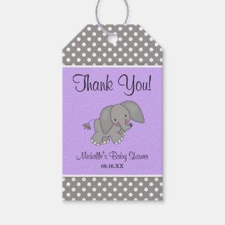 Cute Purple Elephant Girl Baby Shower Gift Tags