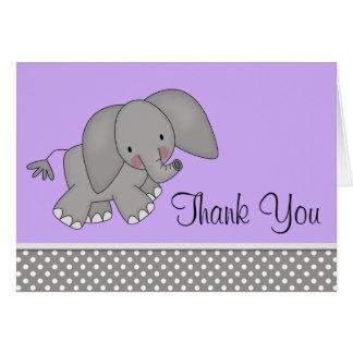 Cute Purple Elephant Thank You Cards