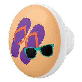 Cute Purple Flip Flops and Teal Sunglasses Ceramic Knob