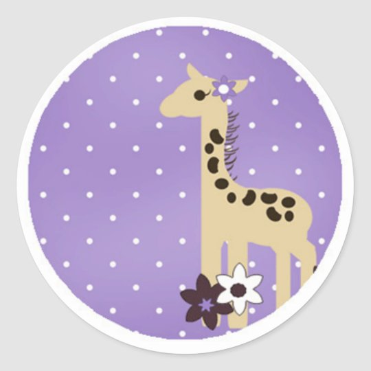 Cute Purple Flower with Giraffe Classic Round Sticker