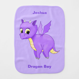 Cute Purple Flying Baby Dragon Burp Cloth