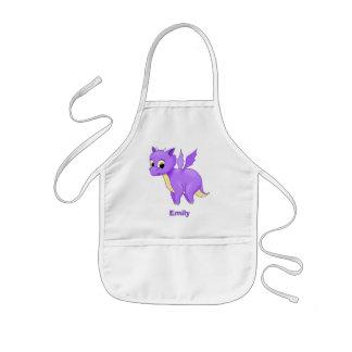 Cute Purple Flying Baby Dragon Kids Apron