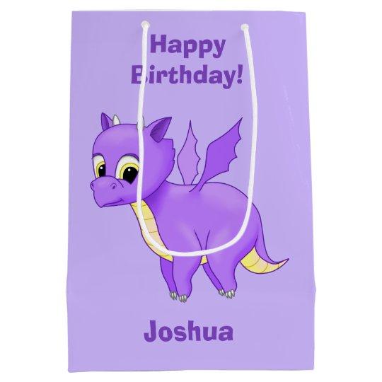 Cute Purple Flying Baby Dragon Medium Gift Bag