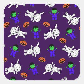 Cute purple Frankenstein mummy pumpkins Sticker