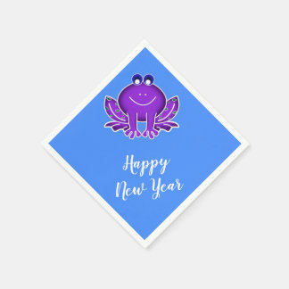 cute purple frog-  Happy New Year Paper Napkins