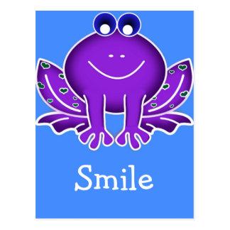 cute purple frog-  smile postcard