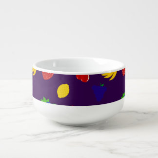Cute purple fruits pattern soup bowl with handle