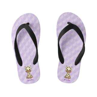 Cute purple giraffe cartoon kids name slippers flip flops