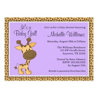 Cute Purple Giraffe Girl Baby Shower Personalized Invitations