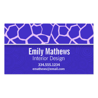 Cute Purple Giraffe Pattern Double-Sided Standard Business Cards (Pack Of 100)