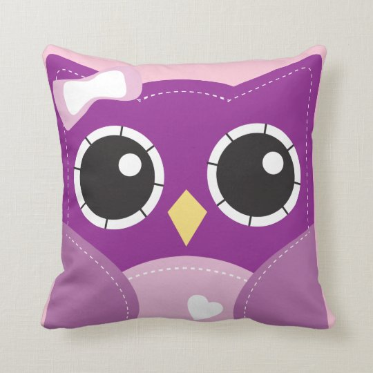 Cute Purple Girls Pillow Room Decor