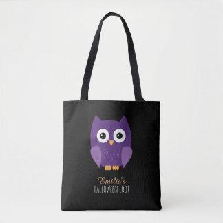 Cute Purple Halloween Owl Kids Tote Bag