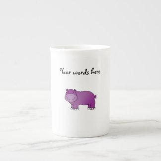 Cute purple hippo bone china mugs