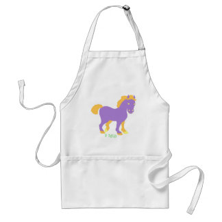 """Cute purple horse -""""ferd"""" in Yiddish Standard Apron"""