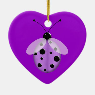 Cute Purple Lady Bug Christmas Ornament