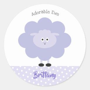 Cute Purple Lamb Modern Girly Adorable Ewe, School Classic Round Sticker