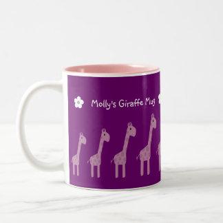 Cute Purple & Lilac Cartoon Giraffes Mug