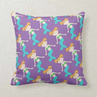 Cute Purple Mermaid Throw Pillow