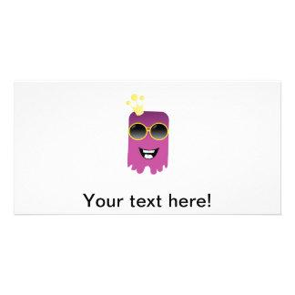Cute purple monster cartoon customized photo card