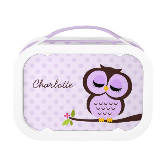 Cute Purple Owl and Polka Dots Personalized Lunch Box